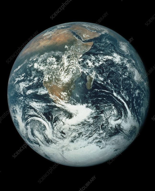 Whole Earth, showing Antartica, Africa and Arabia