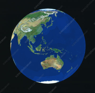 Geosphere view of Japan & Australia