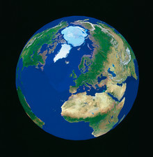 Whole earth centred on Europe