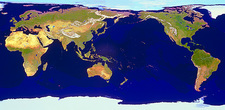 Geosphere image of whole Earth centered on