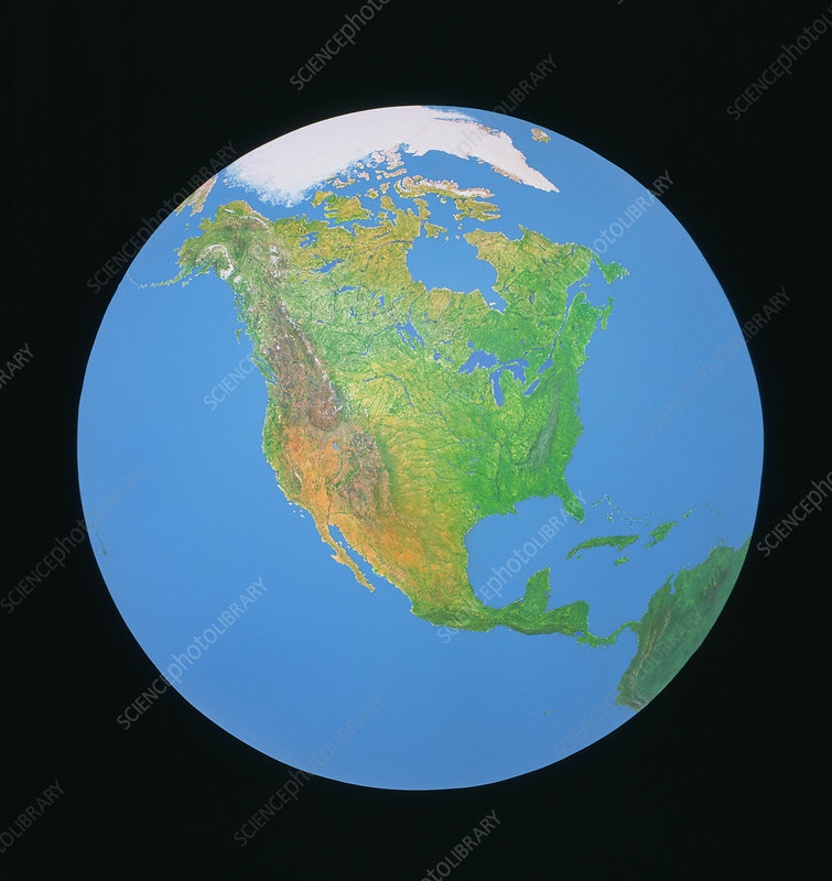 Whole earth centred on North America
