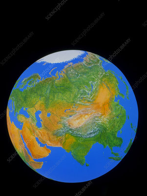 Whole earth showing the continent of Asia