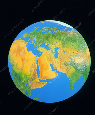 Whole earth centred on the Middle East