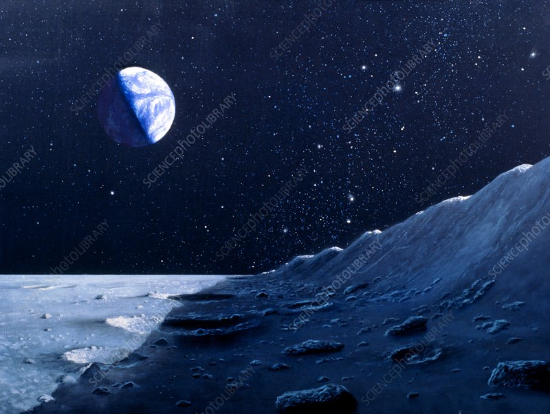 Artwork showing the Earth above the lunar horizon