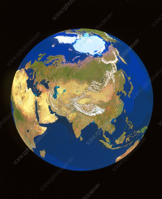 GeoSphere whole Earth centred on Himalayas