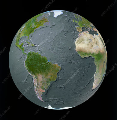 Atlantic Ocean GeoSphere with bathymetry