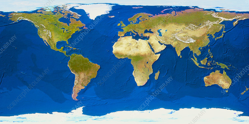 Whole earth with ocean bathymetry