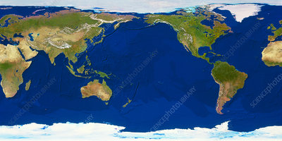 Whole earth with ocean bathymetry, Pacific centred