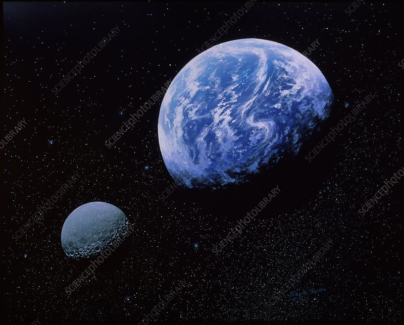 Artwork of Earth and Moon