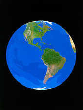 Satellite view of Earth showing N. and S. America