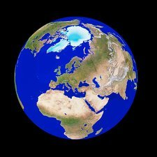 Satellite image of the Earth, centred on Europe