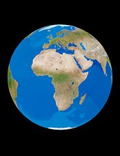 The whole Earth, centred on Africa