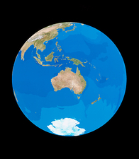 The whole Earth, centred on Australia