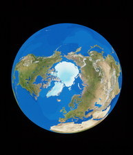 Satellite view of the Earth, centred on the Arctic