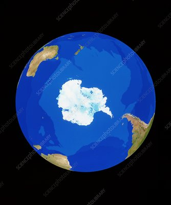 Satellite image of the Earth, centred on Antarctic