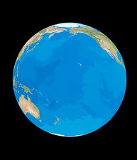 Earth centred on the Pacific Ocean