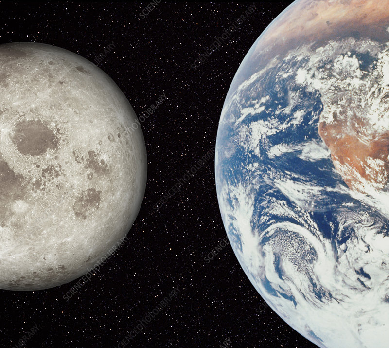 Composite image of Earth and Moon
