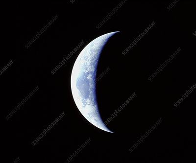 Crescent earth from Apollo 11