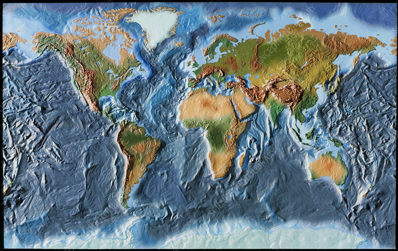 Topographical Map Of The World Topographical map of the earth   Stock Image   E050/0430   Science