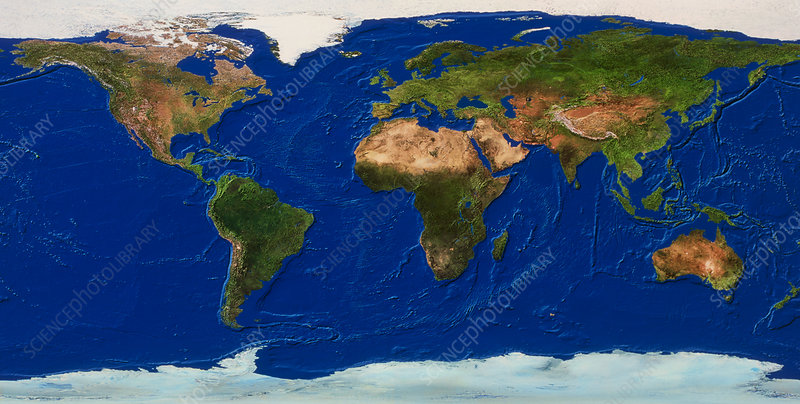 Whole Earth map - Stock Image - E050/0443 - Science Photo Library