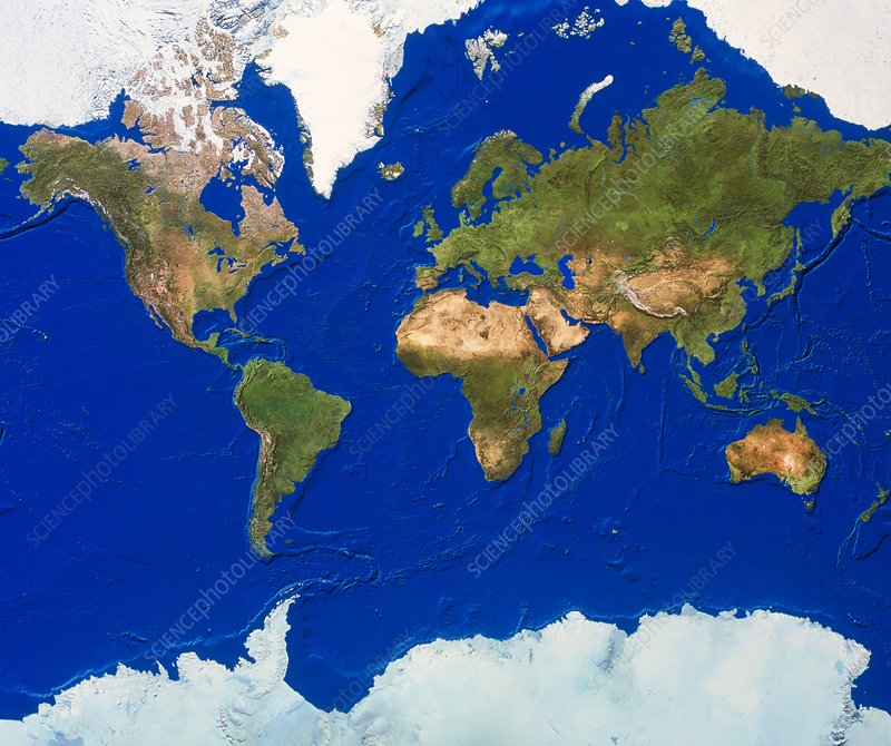 Whole Earth map - Stock Image - E050/0445 - Science Photo Library