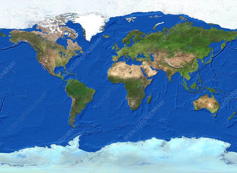 Whole Earth map - Stock Image - E050/0446 - Science Photo ...
