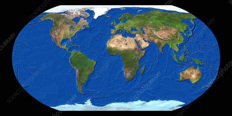 Whole Map Of The World.Whole Earth Map Stock Image E050 0456 Science Photo Library