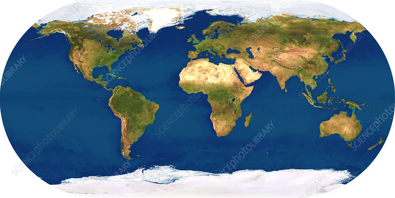 Whole Earth map - Stock Image E050/0580 - Science Photo Library