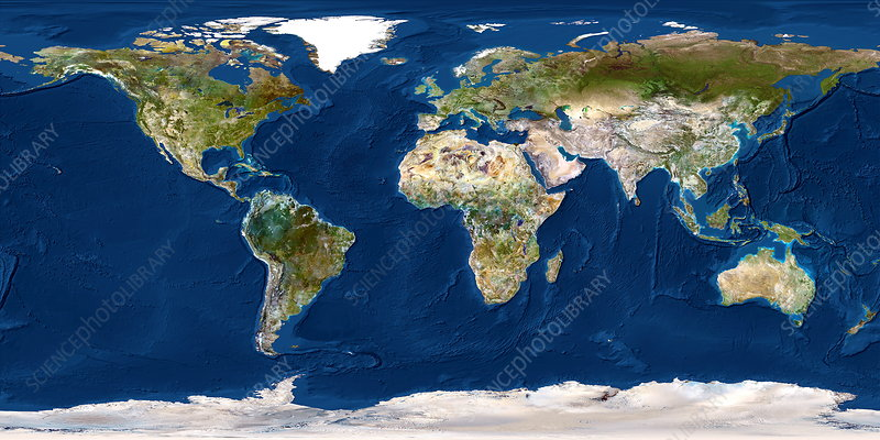 Whole Earth map - Stock Image - E050/0585 - Science Photo Library