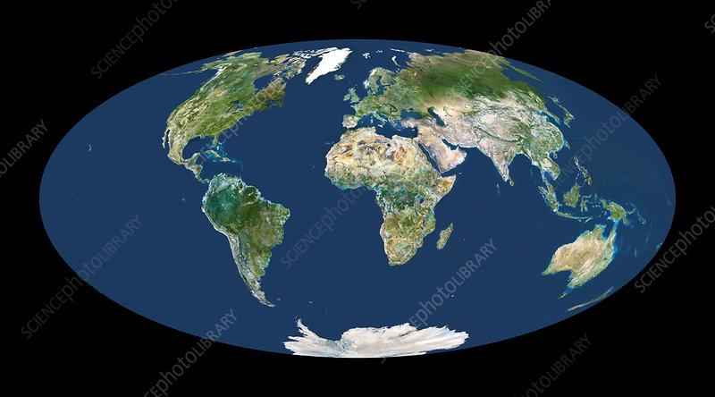 Whole Earth map - Stock Image - E050/0586 - Science Photo Library