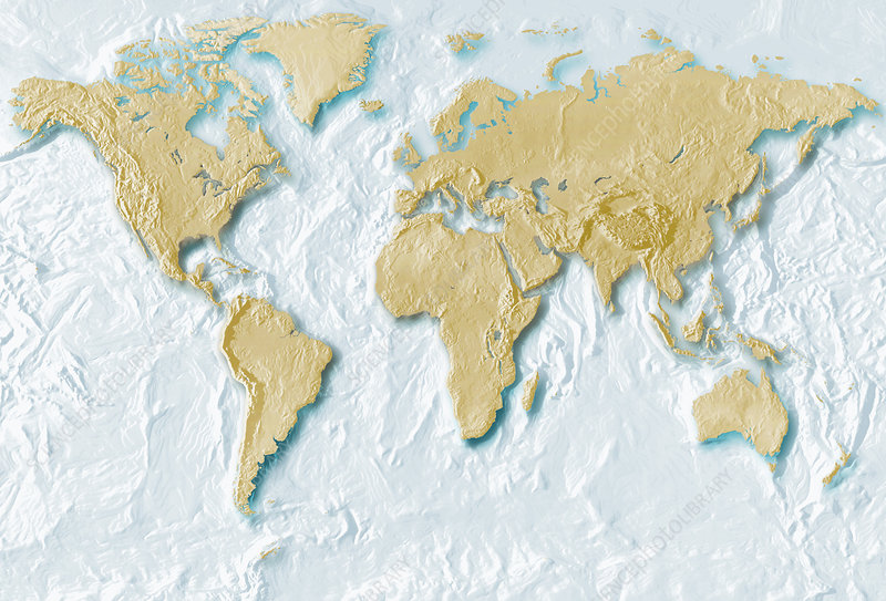 Map of the world in relief