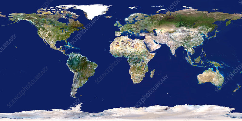 Whole Earth map - Stock Image - E050/0645 - Science Photo Library