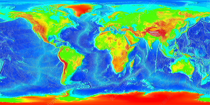 Earth Topographical Map Stock Image E050 0674 Science Photo