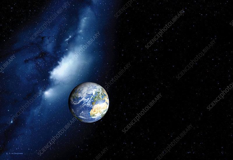 Earth and Milky Way, computer artwork
