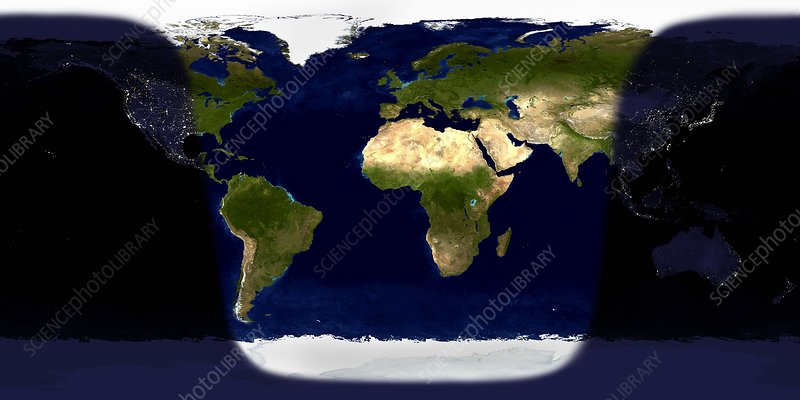 Day And Night On Earth Satellite Image Stock Image E050 0715