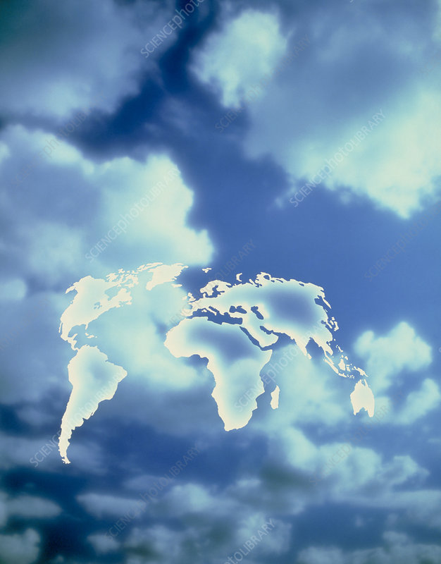 Map of Earth against blue sky with clouds
