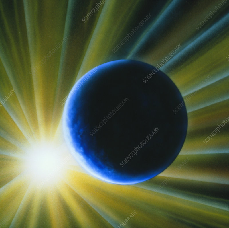 Artist's impression of Earth and Sun