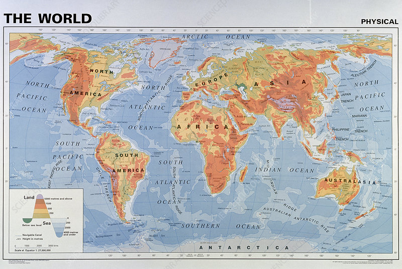 Map of the world showing the physical geography