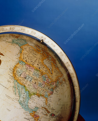Part of an Earth globe, centred on North America