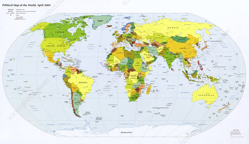 Political map of the world, April 2005