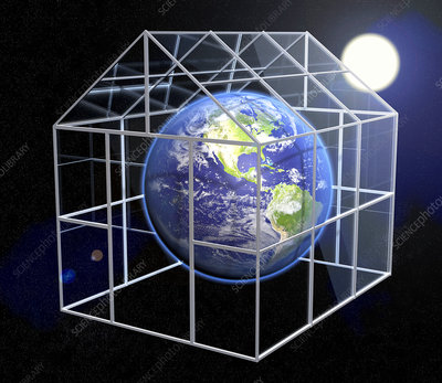 Greenhouse effect, conceptual image