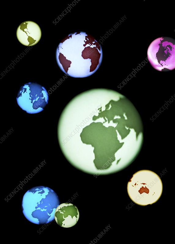 Earth globes, composite artwork
