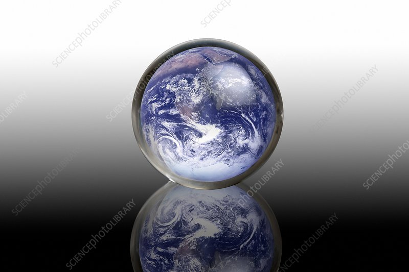 Earth in a crystal ball, conceptual image