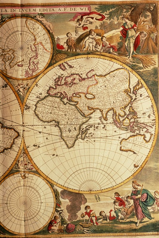 Map of Old World from de Wit's Atlas of 1689
