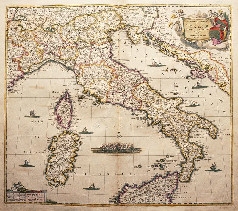 Map of Italy from de Wit's Atlas, 1689