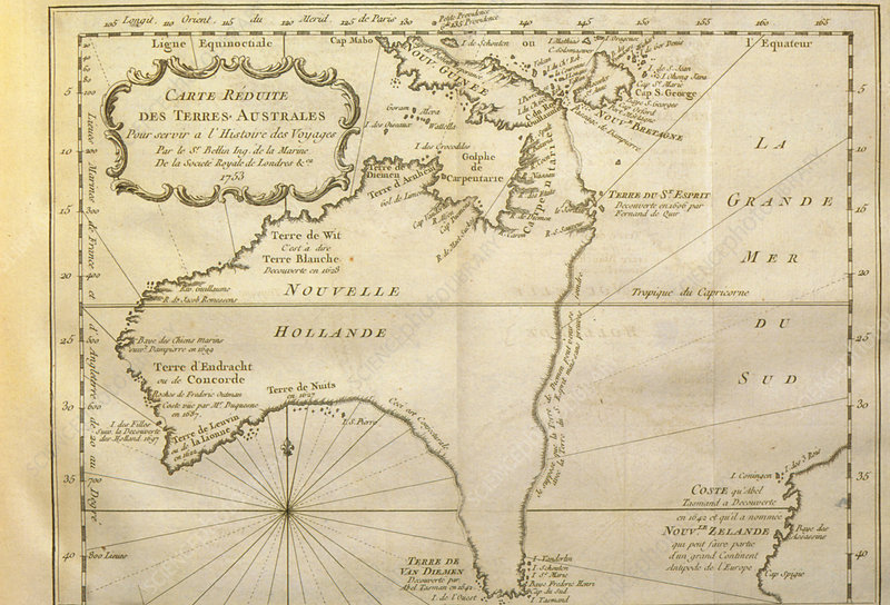 Historical map of Australia from 1753 book