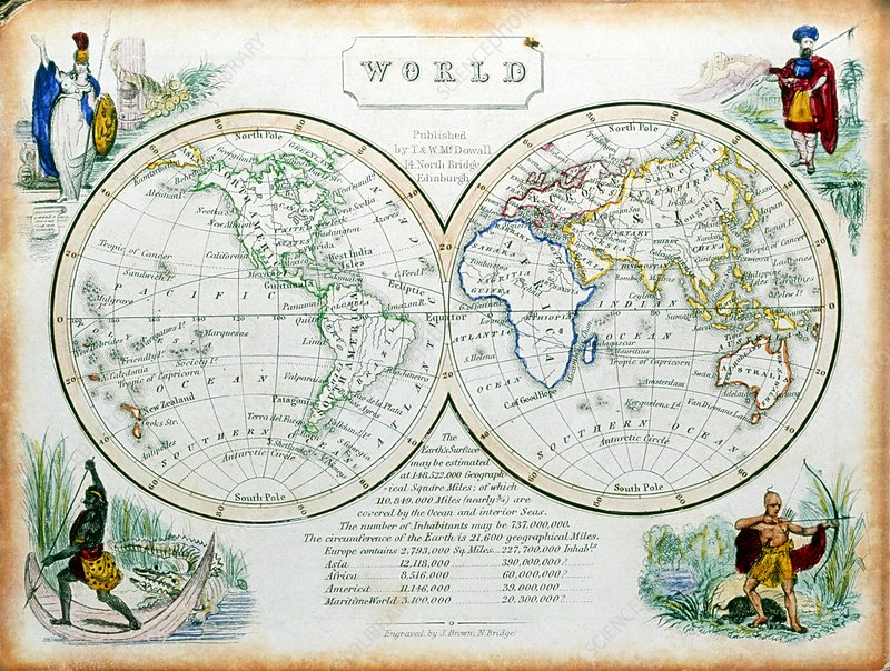 Atlas of the world from the 19th century