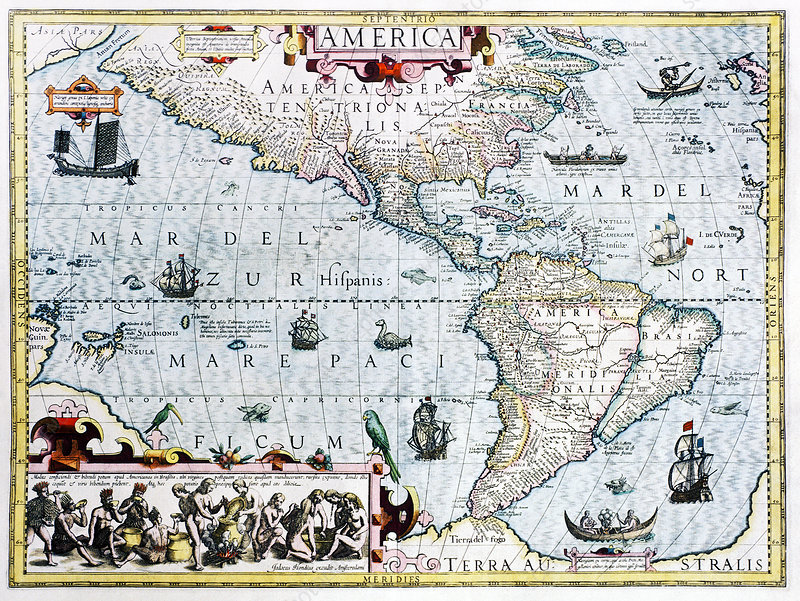 17th century map of the New World