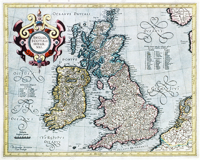 Map Of England 800.16th Century Map Of The British Isles Stock Image E056 0036