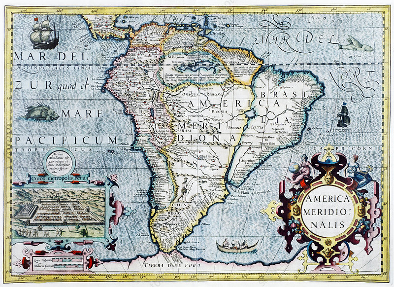 17th century map of South America